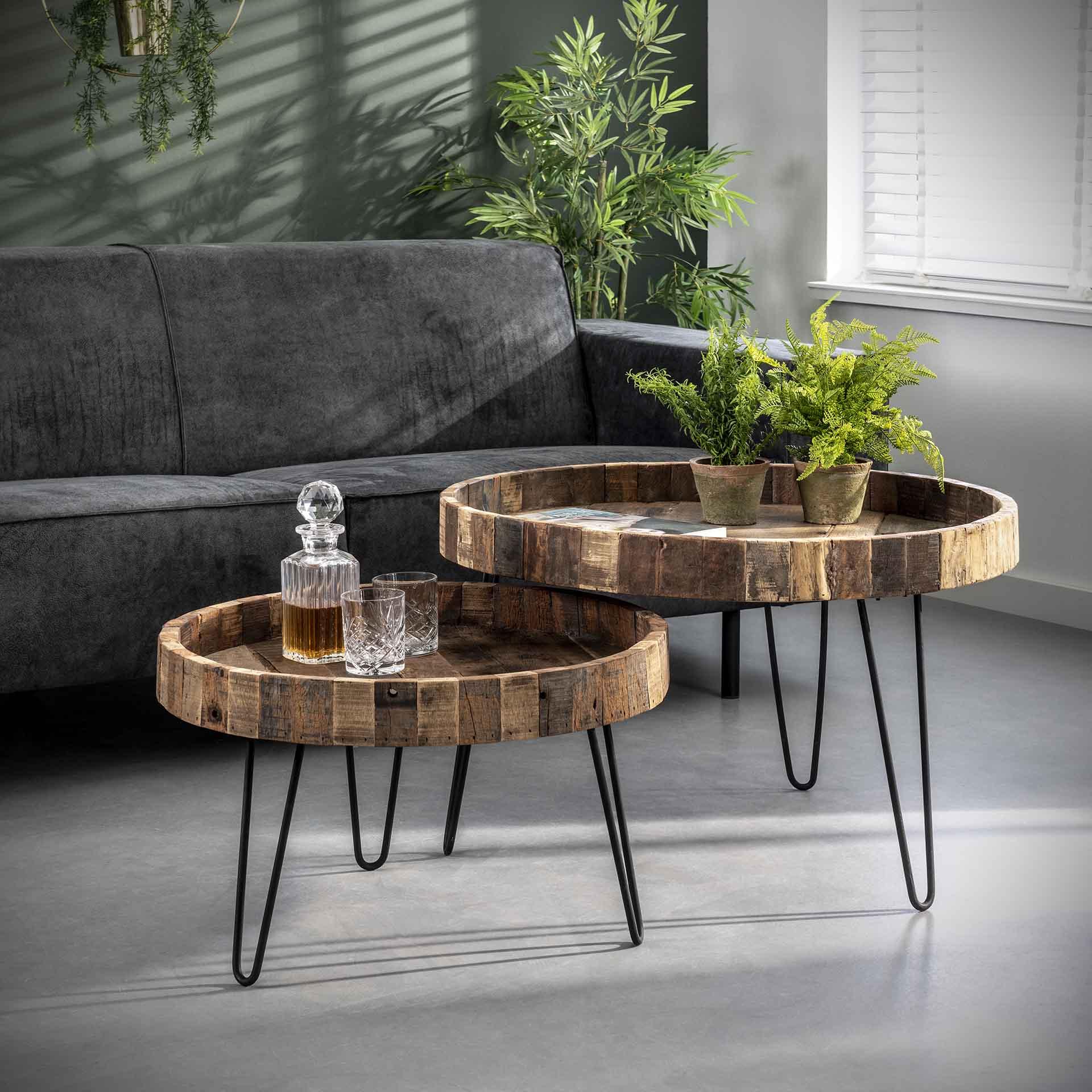 Couchtisch - Lounge - aus recyceltem Holz - 2-Teilig