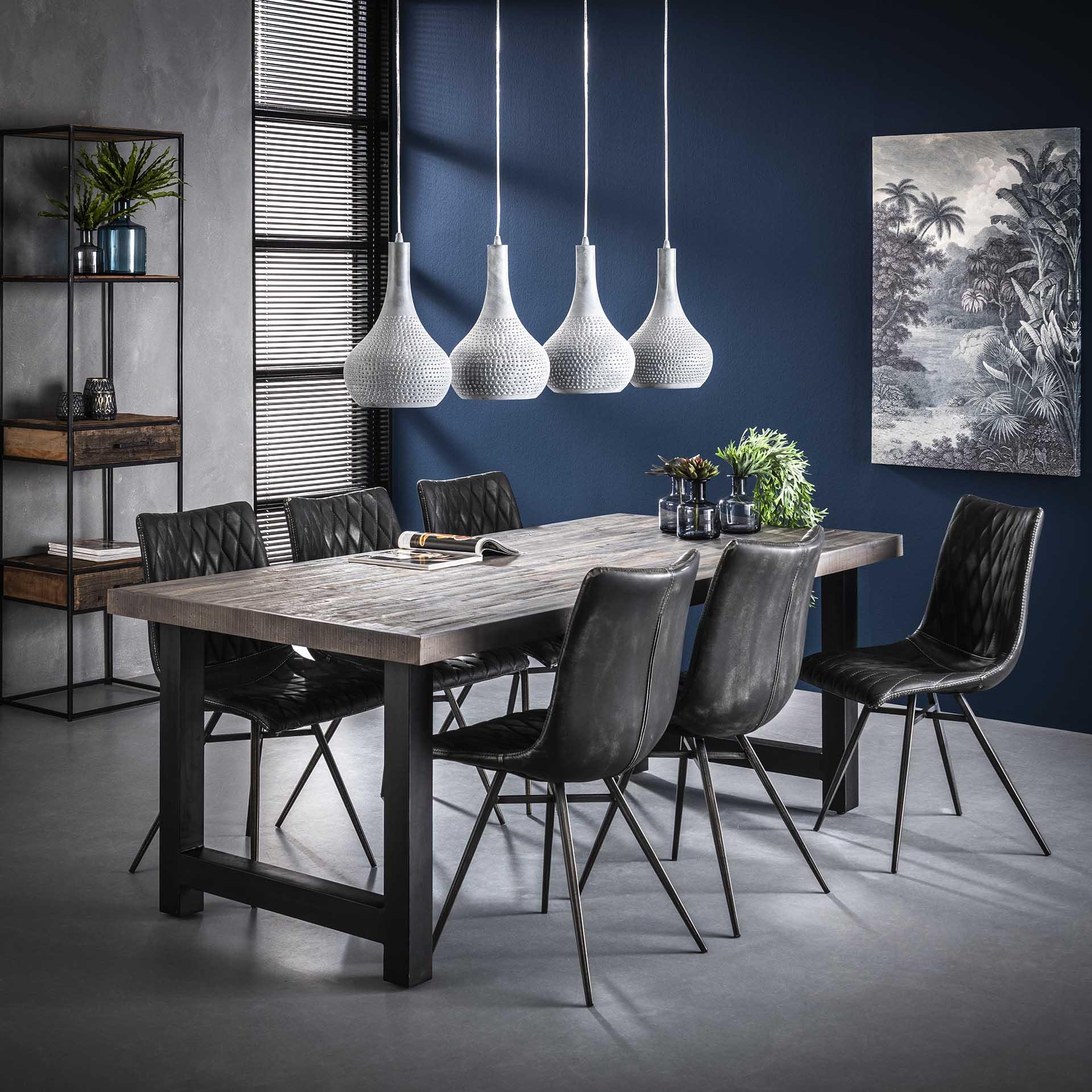 Esstisch - Akazienholz mit grauer Waschung - 35mm Tischplattenstärke - 165cm