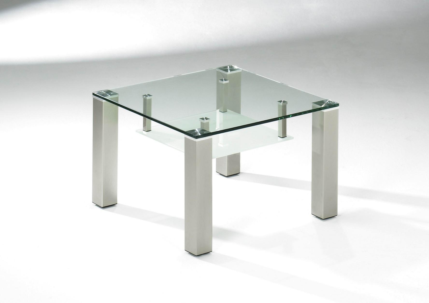 Glastisch - Glas klar 12 mm - untere Ablage satiniert