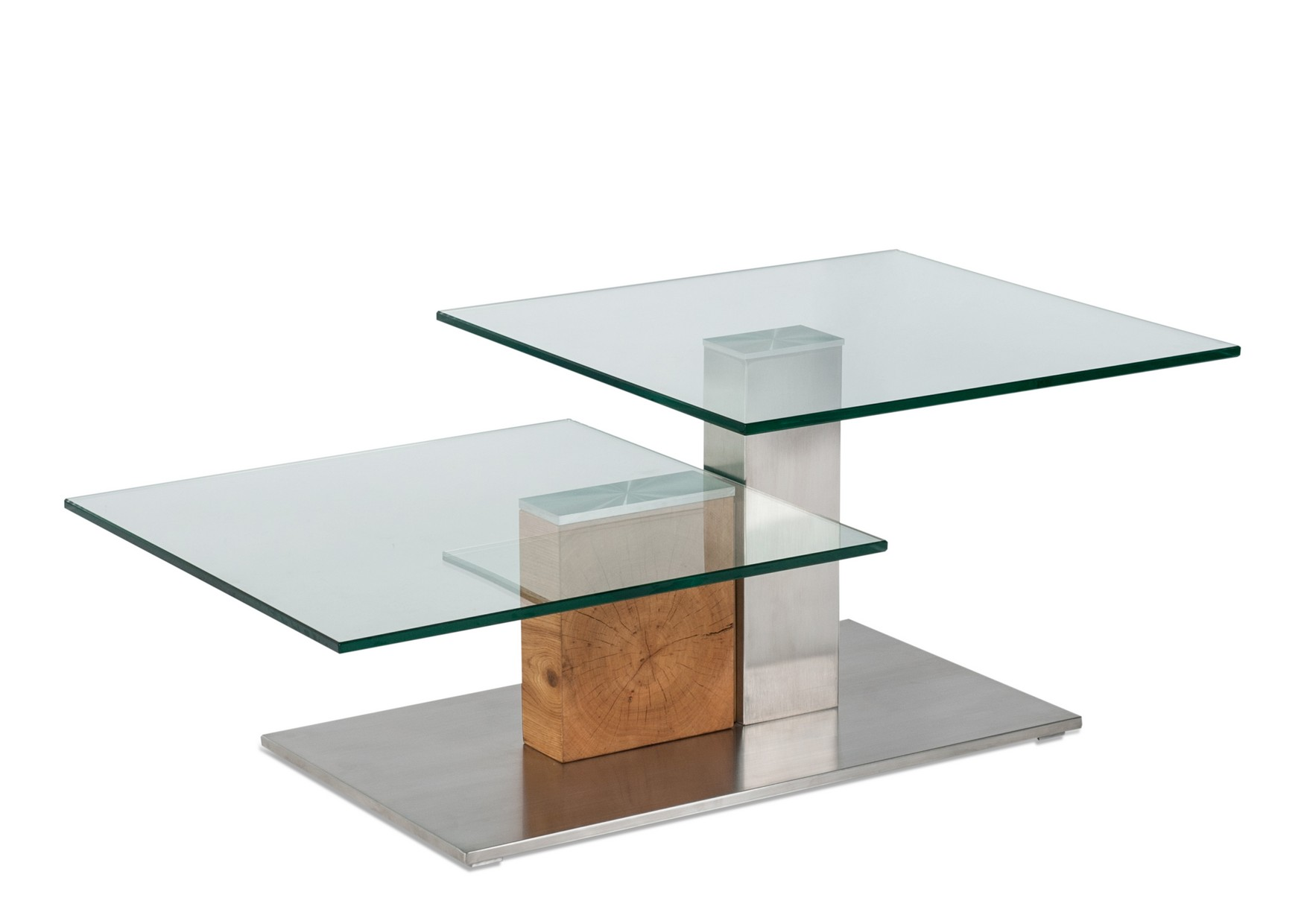 Design Glastisch - Klarglas 12 mm + Edelstahl Bodenplatte