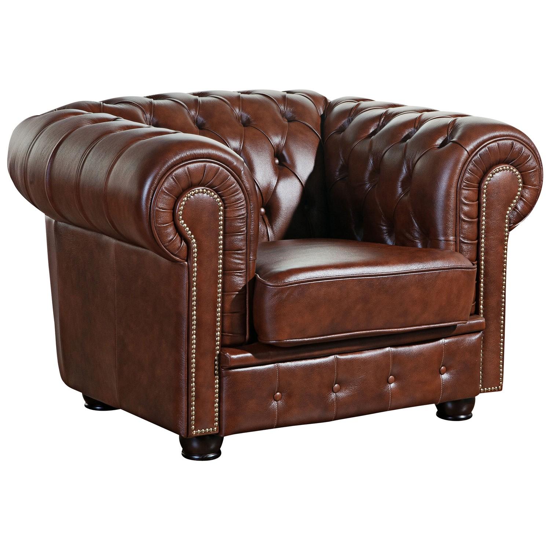 Sofa & Sessel Norwin im Chesterfield Stil - 100% Leder