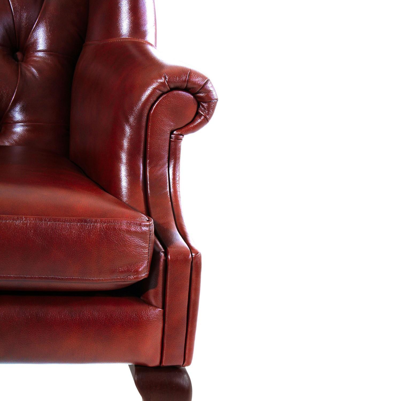Ohrenbackensessel Queenie  - Edler Chesterfield Sessel - echt 100% Rindleder
